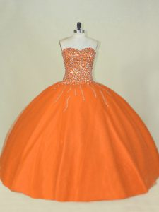 Smart Orange Mermaid Tulle Sweetheart Sleeveless Beading Floor Length Lace Up Sweet 16 Dresses