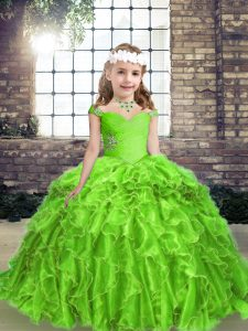 Affordable Straps Sleeveless Lace Up Child Pageant Dress Organza