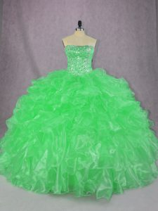 Green Strapless Lace Up Beading and Ruffles Quinceanera Gown Sleeveless