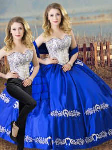 Royal Blue Lace Up Sweet 16 Dresses Beading and Embroidery Sleeveless Floor Length