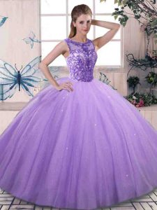 Ball Gowns Sweet 16 Dress Lavender Scoop Tulle Sleeveless Floor Length Lace Up