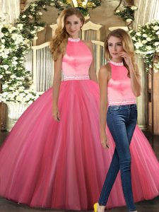Beauteous Floor Length Ball Gowns Sleeveless Coral Red Ball Gown Prom Dress Backless