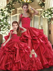 Traditional Straps Sleeveless Quince Ball Gowns Floor Length Ruffles Red Organza