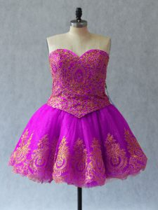 Flirting Fuchsia Ball Gowns Tulle Sweetheart Sleeveless Appliques and Embroidery Mini Length Lace Up Prom Party Dress