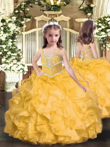 Floor Length Gold Pageant Dress Toddler Straps Sleeveless Lace Up