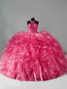 High Quality Hot Pink Sleeveless Beading and Ruffles Sweet 16 Quinceanera Dress