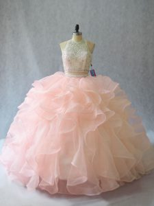 Brush Train Two Pieces Quinceanera Gowns Peach Halter Top Organza Sleeveless Backless