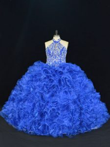 Popular Royal Blue Ball Gowns Halter Top Sleeveless Organza Floor Length Lace Up Beading and Ruffles Quinceanera Dress