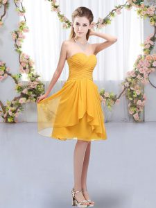 Pretty Knee Length Gold Court Dresses for Sweet 16 Chiffon Sleeveless Ruffles and Ruching