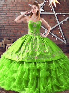 Trendy Lace Up Sweetheart Embroidery Quinceanera Gown Satin and Organza Sleeveless