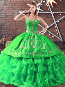 Dazzling Green Organza Lace Up Sweetheart Sleeveless Floor Length Ball Gown Prom Dress Embroidery