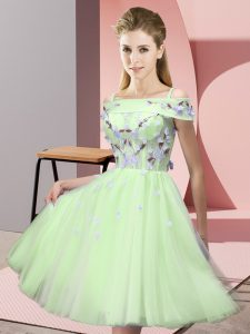 Tulle Short Sleeves Knee Length Court Dresses for Sweet 16 and Appliques