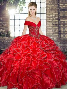Fine Organza Off The Shoulder Sleeveless Lace Up Beading and Ruffles Ball Gown Prom Dress in Red