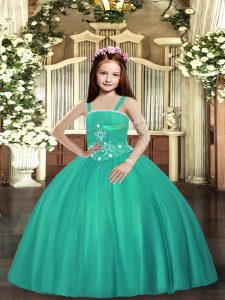 Turquoise Tulle Lace Up Pageant Dress for Womens Sleeveless Floor Length Beading