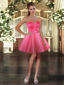 Deluxe Sleeveless Tulle Mini Length Lace Up in Coral Red with Belt