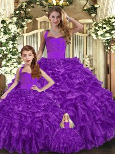 Extravagant Purple Ball Gowns Organza Halter Top Sleeveless Ruffles Floor Length Lace Up Sweet 16 Dress