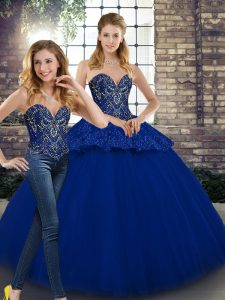 On Sale Floor Length Royal Blue Quinceanera Dresses Tulle Sleeveless Beading and Appliques