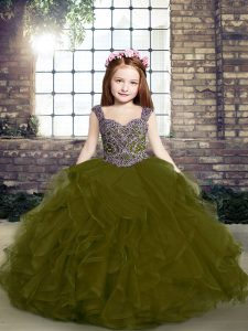 Low Price Beading and Ruffles Custom Made Pageant Dress Olive Green Lace Up Sleeveless Floor Length