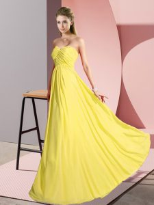 Excellent Floor Length Yellow Prom Evening Gown Chiffon Sleeveless Ruching