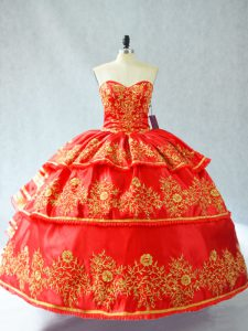 Fantastic Satin and Organza Sweetheart Sleeveless Lace Up Embroidery and Ruffled Layers Sweet 16 Dresses in Red