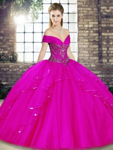 Romantic Sleeveless Beading and Ruffles Lace Up Quince Ball Gowns