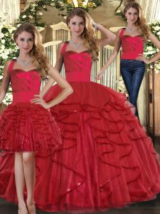 Sweet Sleeveless Tulle Floor Length Lace Up Sweet 16 Dress in Red with Ruffles