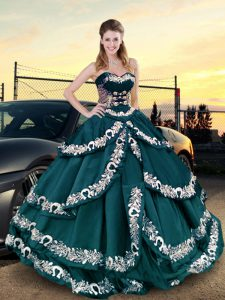 Hot Selling Teal Lace Up Quinceanera Gowns Embroidery and Ruffled Layers Sleeveless Floor Length