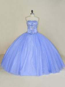 Lavender Tulle Lace Up Ball Gown Prom Dress Sleeveless Floor Length Beading and Sequins