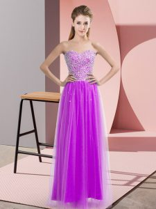 Vintage Sweetheart Sleeveless Prom Dress Floor Length Beading Lilac Tulle