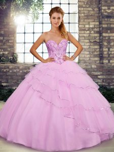 Deluxe Tulle Sleeveless 15 Quinceanera Dress Brush Train and Beading and Ruffled Layers