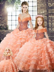 Classical Sleeveless Brush Train Lace Up Beading and Ruffled Layers Sweet 16 Dresses