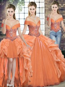Orange Off The Shoulder Neckline Beading and Ruffles Vestidos de Quinceanera Sleeveless Lace Up