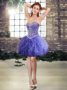 Trendy Lavender Ball Gowns Sweetheart Sleeveless Tulle Mini Length Lace Up Beading and Ruffles Celeb Inspired Gowns