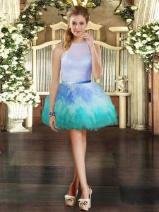 Multi-color Ball Gowns Tulle Scoop Sleeveless Ruffles Mini Length Zipper Prom Party Dress