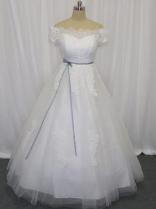 Floor Length White Wedding Gowns Off The Shoulder Short Sleeves Lace Up