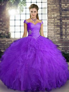 Off The Shoulder Sleeveless Tulle Quinceanera Dress Beading and Ruffles Lace Up