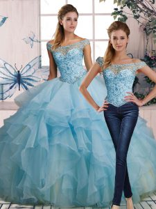 Edgy Sleeveless Floor Length Beading and Ruffles Lace Up Quince Ball Gowns with Light Blue