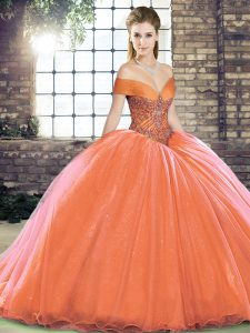 Flirting Brush Train Ball Gowns Quinceanera Dresses Orange Red Off The Shoulder Organza Sleeveless Lace Up