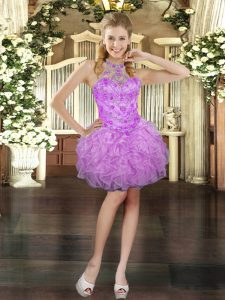 Sophisticated Sleeveless Beading and Ruffles Lace Up Dress for Prom