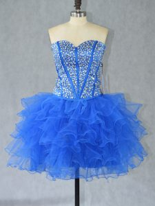 Blue Ball Gowns Beading and Ruffles Prom Dress Lace Up Organza Sleeveless Mini Length