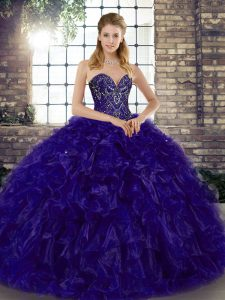 Purple Ball Gowns Organza Sweetheart Sleeveless Beading and Ruffles Floor Length Lace Up Sweet 16 Quinceanera Dress