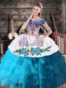Deluxe Floor Length Teal Quinceanera Dresses Off The Shoulder Sleeveless Lace Up