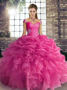 Off The Shoulder Sleeveless Lace Up 15 Quinceanera Dress Rose Pink Organza