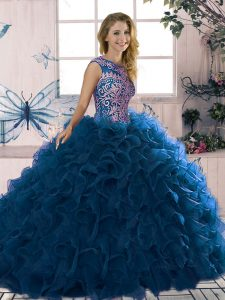 Popular Scoop Sleeveless Lace Up 15th Birthday Dress Royal Blue Organza