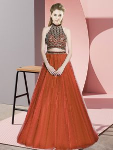 Fashion Sleeveless Tulle Floor Length Lace Up in Rust Red with Beading