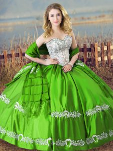 High End Sleeveless Lace Up Floor Length Beading and Embroidery 15th Birthday Dress