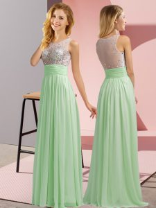 Decent Apple Green Empire Chiffon Scoop Sleeveless Beading Floor Length Side Zipper Vestidos de Damas
