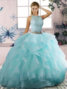 Discount Scoop Sleeveless Tulle Quinceanera Gowns Beading and Ruffles Zipper