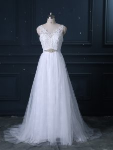 Sleeveless Brush Train Backless Beading and Lace Wedding Dress