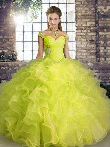 Modest Organza Sleeveless Floor Length Quince Ball Gowns and Beading and Ruffles